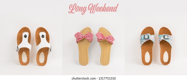 Three pairs of womens casual footware on white background. Fashion/lifestyle concept image for long weekend or vacation