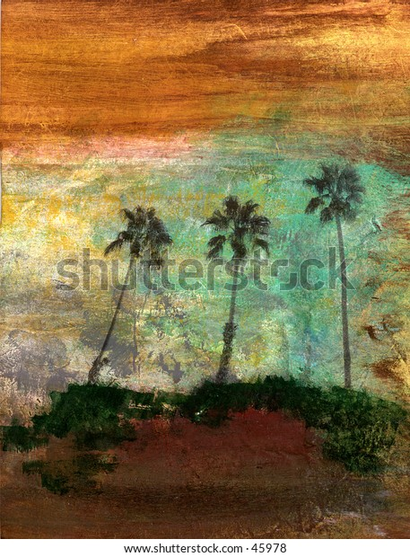Three palm trees. Mix Media Photo illustration.