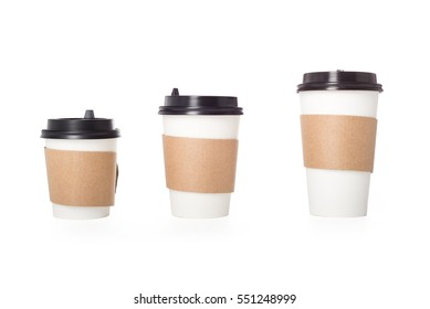 Three paper coffee cups isolated over white, clipping path