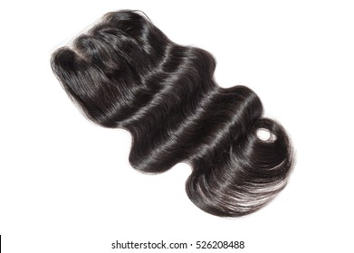 Three part body wave remy human hair lace closure