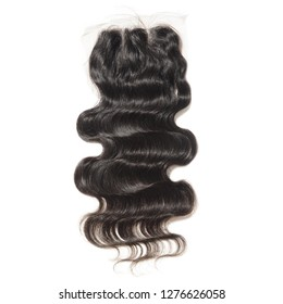 three part body wave wavy black human hair weaves extensions lace closure
