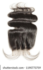 Three part body wavy black human hair weaves extensions lace closure