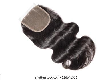 Three part human hair lace closure