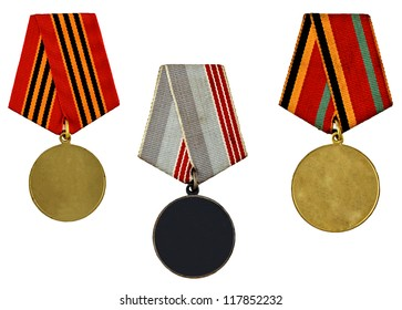 three patterns medals isolated on white background