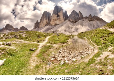 Three Peaks of Lavaredo in summer season, Italian Dolomites.