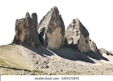The Three Peaks of Lavaredo (Tre Cime di Lavaredo, Trentino Alto Adidge, Dolomites mountains, South Tyrol, Italy, Europe) isolated on white background