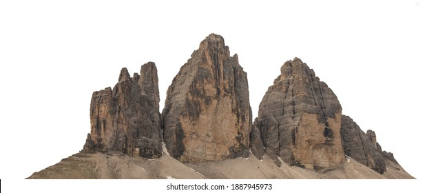 The Three Peaks of Lavaredo (Tre Cime di Lavaredo, Trentino Alto Adidge, Dolomites mountains, South Tyrol, Italy, Europe) isolated on white background - Shutterstock ID 1887945973