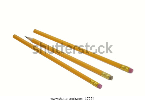 Three pencils isolated on white with clipping path.