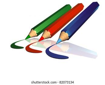 Three pencils on white background.