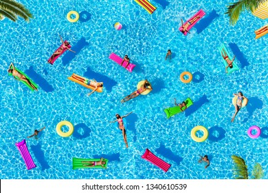 Three people as pattern of many on water pool surface floating view from above with palm trees