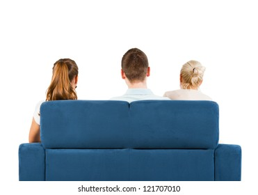 Three people sitting on a sofa back, white background