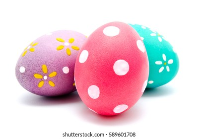 Three perfect colorful handmade easter eggs isolated