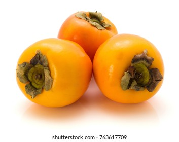 Three persimmon Kaki isolated on white background whole