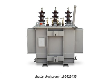 Three phase (100 kVA) pole mounted corrugated fin hermetically sealed type oil immersed transformer, supporting side, isolated on white background with clipping path