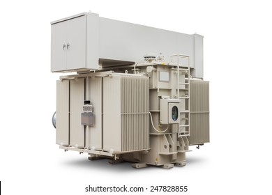 Three phase 10000 kVA (or 10 MVA) conservator type with radiator fin equips with forced air cooling fan, oil immersed power transformer, isolated on white background with clipping path
