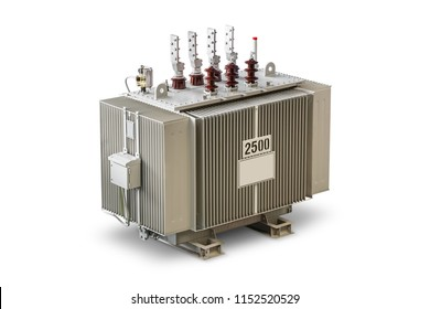 Three phase (2500 kVA) corrugated fin hermetically sealed type oil immersed transformer equipped with DGPT (Detection of Gas, Pressure and Temperature), isolated on white background with clipping path