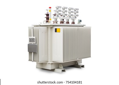 Three phase (800 kVA) corrugated fin hermetically sealed type oil immersed transformer, isolated on white background with clipping path