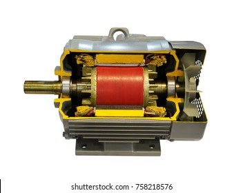 Three phase induction motor to show coil and rotor and part inside body , isolate on white background