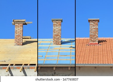 Three phases of a roof construction. Carpentry work, thermal insulation and tiling