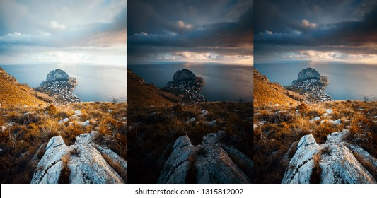 Three photos with different exposures of combined to HDR. Location Sicily, Zafferano cape, Italy, Europe. before and after. Original or retouch, example of photo editing process. Beauty of earth.