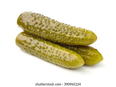 Three pickled cucumbers isolated on white