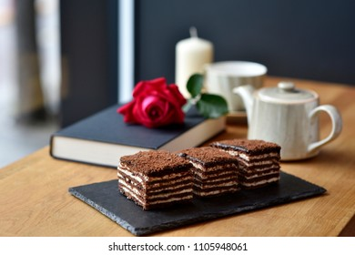 Three pieces of chocolate layer cake