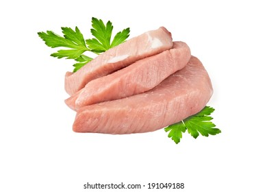 three pieces of fresh meat and parsley leaves on white background