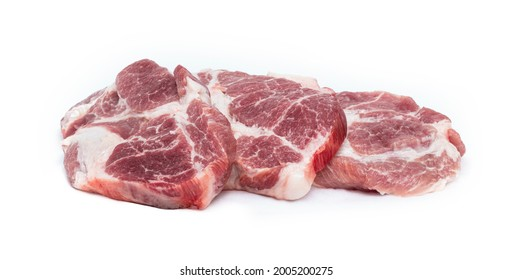 three pieces of fresh steaks isolated on white background