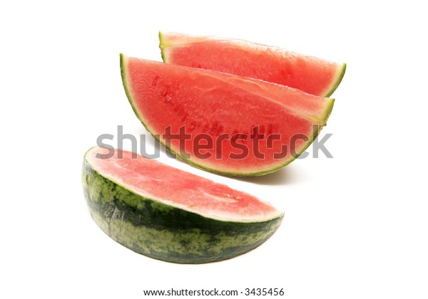 three pieces of melon