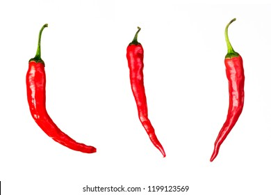 three pieces of red chili peppers isolated on white background