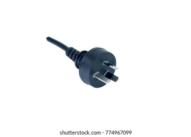 Three pin power plug, China plug, black color, isolated on white background.