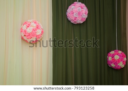 Three Pink White Paper Flowers Ball Stock Photo Edit Now 793123258