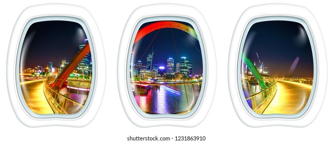 Three plane windows on Elizabeth Quay Bridge by night at Elizabeth Quay Marina in Perth in Australia, from a plane on the portholes windows. Copy space.