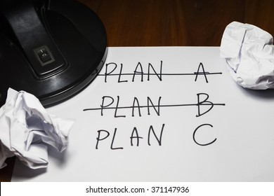 Three Plans ,concept for change of plan