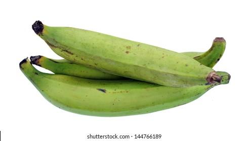 three plantain banana isolated on white