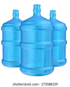 three plastic bottles for drinking water. 3d render