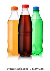 Three plastic bottles of soft drink isolated on white