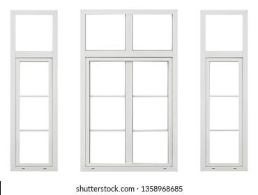 Three plastic window on white background