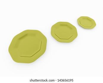 Three plates on white background isolated