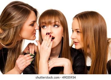 three playmates share secrets isolated on white
