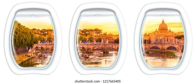 Three porthole frame windows on Rome at Sunset with San Pietro basilica, Sant'Angelo bridge and Tevere river in Roma, Italy