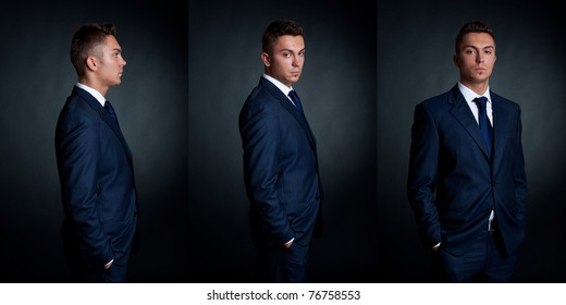 three poses of a fashion model in formal wear