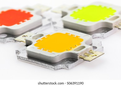 three powerful color 10W LED chips on aluminum coolers