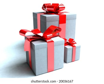 Three presents in small, medium and large boxes.