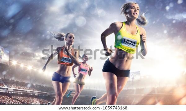 Drei professionelle Läufer auf der Grand Arena
