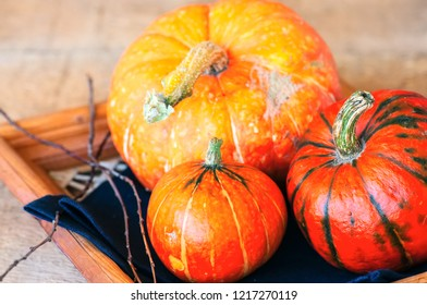 Three pumpkins on a wooden background. Close up.