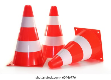 three pylons in front of white background
