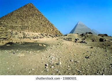The three pyramids, Giza, Egypt.