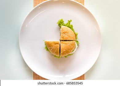 Three quarter of hamburger on a white ceramic plate and table background. Top view.