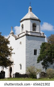 three quarter view of the Mission church in Goliad Texas